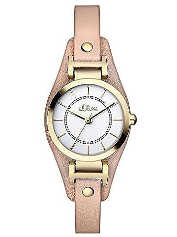 s.Oliver Damen-Armbanduhr XS Analog Quarz Leder