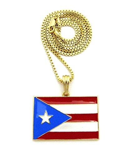 Feingeschliffener Puerto Rico Nationalflagge Anhänger inklusive Halskette – 2 mm 61 cm Boxer-Halskette im Gold-Ton (Rico-boxer Puerto)
