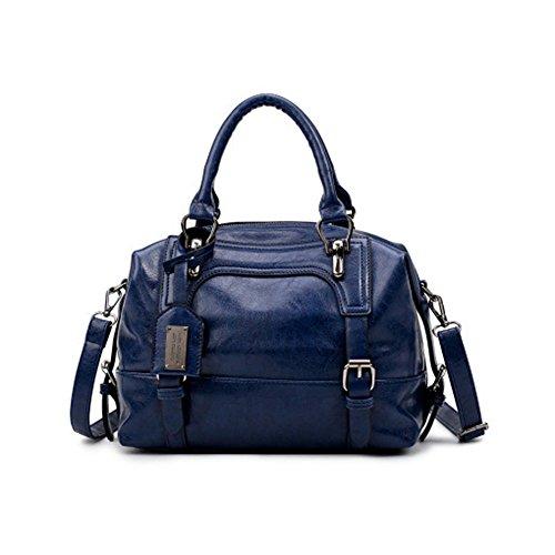 Boston Handtasche Boston PU Leder Handtasche metall reißverschluss Schultertasche Schulter Tasche Frauen Mode Winter Schulter Messenger Bag Vintage Style Handtaschen, Schwarz Blau