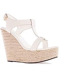Andres Machado. AM5129.Chaussures Compensées T-Bar en Soft. Petites et Grandes Pointures 32/35-42/45.