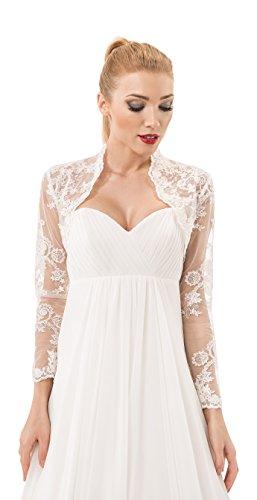 Damen Hochzeit Spitze Bolero fur die Braut Bolero Jacke voll langer armel, mit Perlen und Flittern