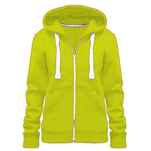 Vaniglia Inc© nuovo donna zip cappuccio da Plus Giacca con cappuccio Top Taglia Uk 8–28 Neon Green