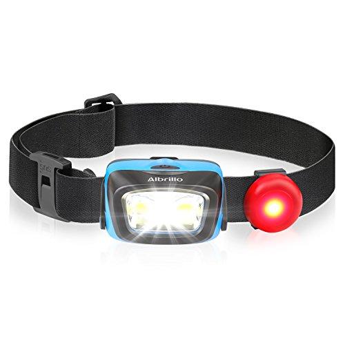 Albrillo Superhelle LED Stirnlampe COB LED Kopflampe 120LM 3 Helligkeitsstufen auswählbar und 5 Lichtmodi, wasserdicht IPX4 für Outdoor, Camping, Joggen