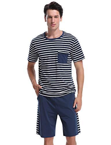 Aibrou Herren Sommer Baumwolle Kurzarm Pyjamas Set, Zweiteiliger Gestreifte Schlafanzug Short + Shirt mit Tasche Marineblau L -