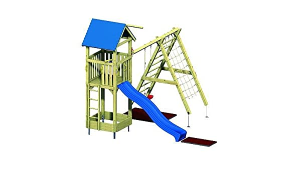 Xxl Klettergerüst 2 4m Kletterturm Spielturm Mit Kletternetz Reckstange Leiter : Kletterturm mit sprossenwand und kletternetz amazon spielzeug