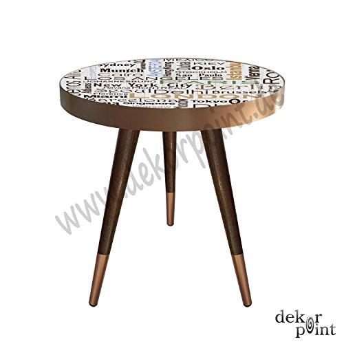 Beistelltisch Couchtisch Nachttisch Nierentisch Coffee Table Tisch Telefontisch Wohnzimmertisch Design Motiv Städte Namen Istanbul Berlin Monaco Rom New York Hong Kong Madrid Paris...