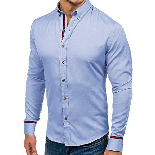 YunYoud Männer Shirt Fashion Einfarbig Männlichen Casual Langarm-shirt weißes jeanshemd herren oberhemden für herrenhemden online bestellen hemden männer günstig rot kariertes hemd