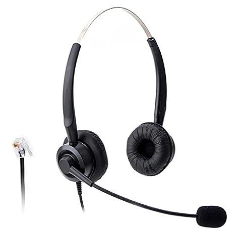 wantech Téléphone Call Center filaire casque avec micro pour NEC Aspire DT300DSX Polycom 3354005330Shoretel Avaya 1416Aastra 6757i MITEL ip230Téléphones IP (h220p01a)