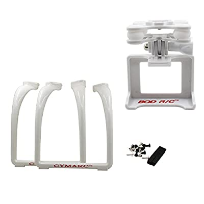 BTG Upgrade Extended Tall Landing Gear with Wide Shooting Angle and Anti-shock Anti-Jello Camera Holder Gimbal Mount Adapter for Syma X8G X8HG X8C X8HC X8W X8HW MJX BUGS 3 X101 X102H RC Drone -White