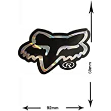 Sticker - Pegatinas - Calcomanías - FOX - Head - 2 pieces - silver - black - silver - Glitter Effect - Decal - Car - Motorbike - Motocross - Bike - BMX - MTB - Scooter- Racing - Patch