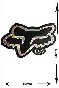 Autocollant Sticker - FOX - Head - 2 pieces - silver - black - silver - Glitter Effect - Decal - Car - Motorbike - Motocross - Bike - BMX - MTB - Scooter- Racing - Patch