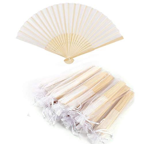 Abanico de tela Abanico Decoración plegable Bambú Ventilador Banquete de boda Regalo...