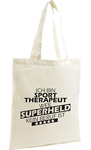 Shirtstown Shopping Bag Organic Zen, Shopper Ich bin Sporttherapeut, weil Superheld kein Beruf ist, natur