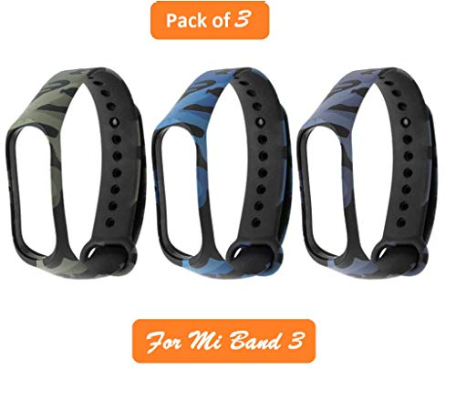 Iloft Silicone Camouflage Army Style Band Strap for Xiaomi Mi Band 3(Device Not Included) (Green+Blue+Grey)