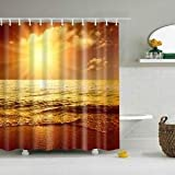 Alcoa Prime Sunrise Pattern Polyester Water-resistant Bathroom Shower Curtain + Hooks