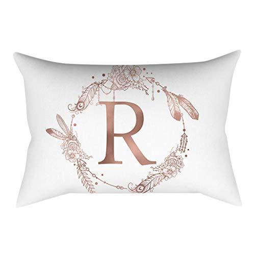 Gokomo lettere in polvere oro rosa cuscino decorativo per bambini in camera da letto per bambini federa per cuscino(r,30x50 cm)