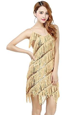 NiSeng Latin Robe Sequin Frange Charleston Gland Court Bling Soirée Robes Abricot