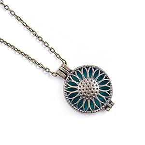 Aktion! Aromatherapie Halskette Aroma Schmuck Blumen Anhänger und Halskette At084 Farbe Antik Bronze