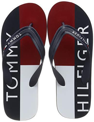 Tommy Hilfiger Hilfiger Print Beach Sandal, Infradito Uomo, Blu (Midnight 403), 44 EU