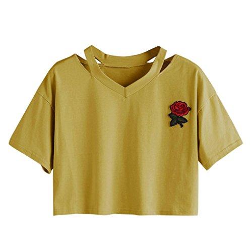 TUDUZ Tops Damen T-Shirt mit Rose Stickerein Kurzarm V-Ausschnitt Sommer Oberteile Shirt Bluse (XL, Gelb) (Victoria Rose Kleider)