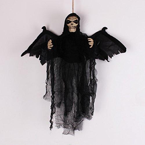 Halloween Dekoration hängendes Skelett Geist mit leuchtenden roten LED Augen & Horrible Stimme und Lasche Flügel Touch & Sound Control Elektrische Requisiten 50,8x 58,4cm (Halloween Dekorationen Scary Ideen)