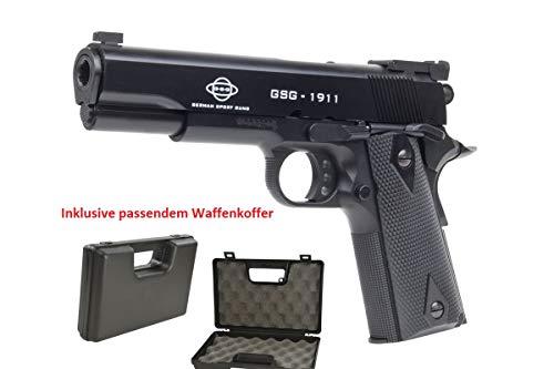 KOSxBO Set: GSG 1911 Heavy Weight // Polizei Pistole mit Metal Slide und 0 5 joul Waffenkoffer