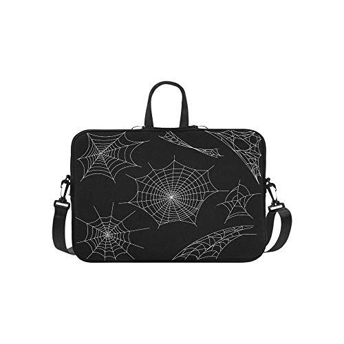 Schwarze Spinnen und kaputte Netzmuster Aktentasche Laptoptasche Messenger Schultertasche Crossbody Handtasche für Geschäftsreisen