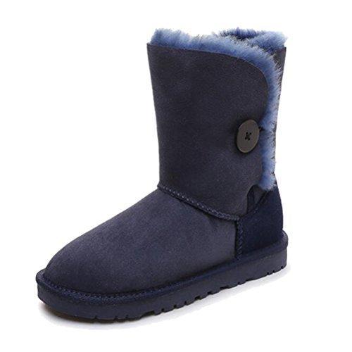 Vogstyle Damen Winter Schnee Stiefel Stiefeletten Halbschaft Classic Warm Pelz Stiefel Schuhe Blau