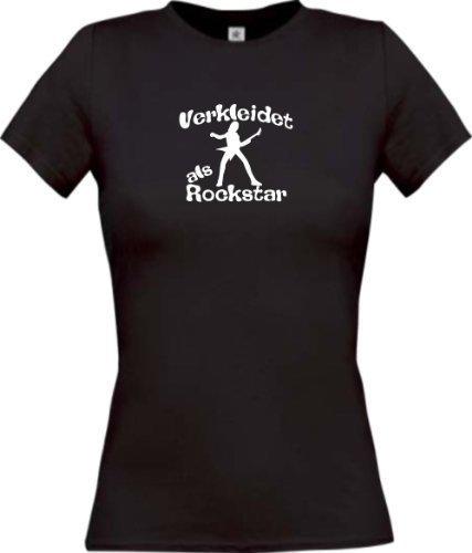 Shirtinstyle Lady-Shirt Karneval verkleidet als Rockstar Fasching Kostüm Verkleidung, Farbe schwarz, Größe ()