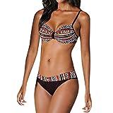 VJGOAL Bikini Set Damen Frauen Sexy Split Badeanzug Retro Drucken Sling Baden in der Sonne Unregelmäßiger Saum Beachwear(Orange,XL)