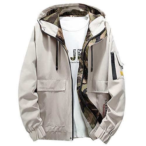 Realde Herren Lange Ärmel Windjacke Camouflage Jacket Mode Sweatshirt Taschen mit Reißverschluss Mantel Strickjacke Herbst und Winter Kapuzenshirt für Fitness Kapuzenpullover