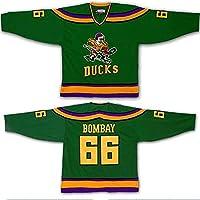 Yajun Gordon Bombay #66 Mighty Ducks Película Camisetas Hockey Jersey sobre Hielo NHL Hombre Ropa Respirable T-Shirt de Manga Larga,M