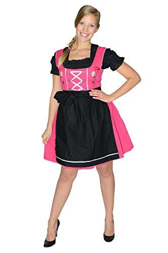 Mini Dirndl, nero/fucsia, 3pezzi, con grembiule + camicetta, taglia 38-58 Rosa e nero