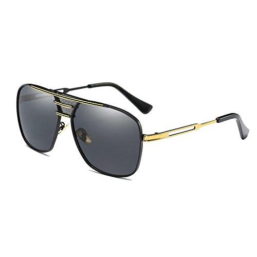 SHEEN KELLY Retro Polarisierte Herren Sonnenbrillen Aluminium Magnesium Rahmen Gold Sonnenbrillen UV400 Männer Square Brillen Pilot Metall Schwarz