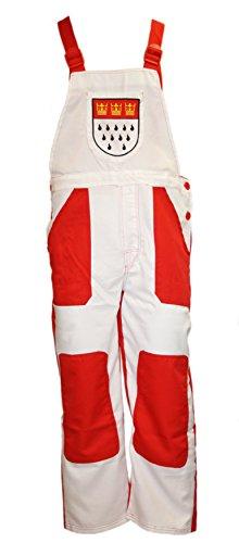 Latz-Hose in rot/weiß mit Kölner-Wappen | Größe M | Köln-Hose für Karneval (M)