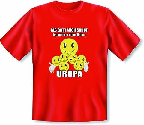 Liebes Geschenk für den Urgroßvater! T Shirt Als Gott mich schuf brauchte er einen lieben Uropa Größe L Farbe rot
