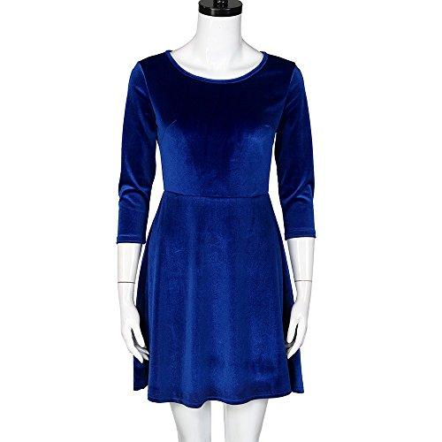 IMJONO Rock Frauen Kleid Runde Hals Velvet Kleid DREI-Viertel Sleeve Dress(Medium,Blau)