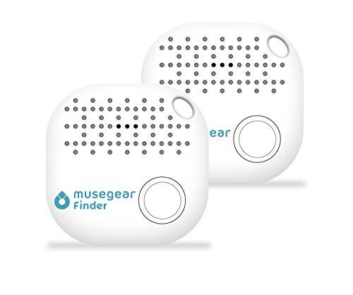 musegear® Schlüsselfinder mit Bluetooth App I 2er Pack I Version 2 I Keyfinder laut für Handy in weiß I GPS Ortung/Kopplung I Schlüssel Finden