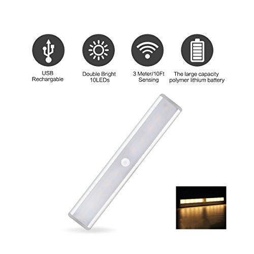Locisne 10 LED della luce di notte del sensore batteria ricaricabile senza fili portatile alimentato PIR Bright Light Motion Sensor Bar di alluminio di Shell con Stick-on striscia magnetica USB decorativo carica di illuminazione luci parziali per armadio cabina armadio scale Wine Rack (1 * bianco caldo)