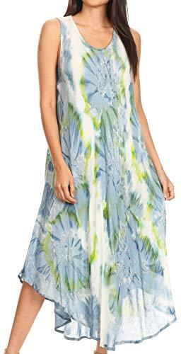 Tank-top Kleid (Sakkas 16801 - Laeila Tie Dye gewaschen Lange Lange ärmellose Tank Top Kaftan Kleid/vertuschen - grau/weiß - OS)