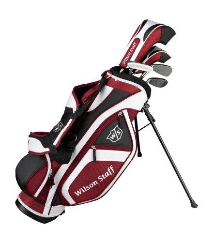 Wilson Staff Junior Halbsatz, 5 Golfschläger mit Standbag, Junior (6-8 Jahre), Schwarz/Weiß/Rot, FG Tour, WGR130500