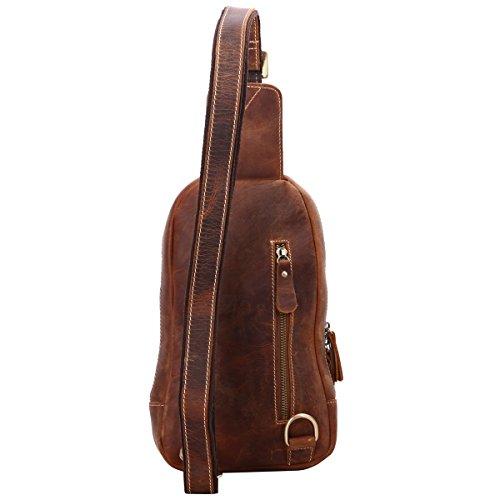 Leathario Herren Echtledertasche Brusttasche Brustbeutel Schultertasche Reisetasche dunkelbraun