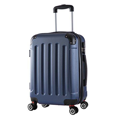 WOLTU RK4201bl, Reise Koffer Trolley Hartschale Volumen erweiterbar, Reisekoffer Hartschalenkoffer 4 Rollen, M/L/XL/Set, leicht und günstig, Blau (M, 55 cm & 42 Liter)