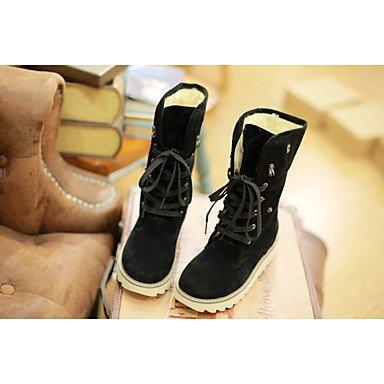 Wuyulunbi@ Scarpe Donna Primavera Autunno Comfort Snow Boots Stivali Tacco A Cuneo Round Toe Lace Leisure Marrone...