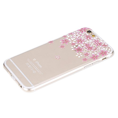 Cover per iPhone 6S plus 5.5, Custodia iphone 6 plus, iphone 6S plus Custodia Silicone, MoreChioce Moda Funny Cute Fiore Animal Painting Colorato Custodia, Ultra Slim 3d Gel Soft Silicone Gomma Morbid Fiori di ciliegio,C#3