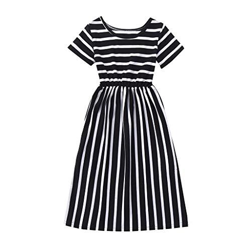 DressLksnf Baby Mädchen Kleid Neugeborenes Kurzarm Abendkleid Streifen Drucken Prinzessin Kleid (Türkis Organza Kind Tutu)