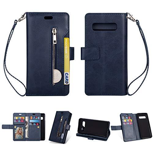 Yobby Hülle für Samsung Galaxy S10,Reißverschluss Brieftasche Handyhülle Slim Luxus Leder Flipcase [9 Kartefach] Magnetisch mit Stand und Handschlaufe Schutzhülle-Blau - Luxus-leder-stand