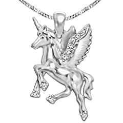 Idea Regalo - Set gioielli Clever - Ciondolo in argento a forma di unicorno con ali, 23 mm, lucido su entrambi i lati con molte zirconi e catenina da 50 cm lucida in argento Sterling 925