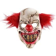 Newin Star Máscara del payaso del látex de Halloween Cara del fantasma con el pelo también