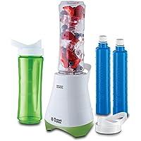 Russell Hobbs Mix & Go Cool 21350-56 - Mini batidora, 300 W, incluye cuchillo para hielo, 2 vasos , 2 tapas y 2 tubos refrigerantes , libre de BPA, color blanco y verde